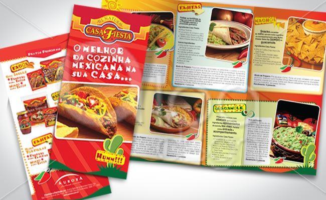 Take one e folder com 2 dobras feito pela LOA DSGN para divulgar os produtos Casa Fiesta