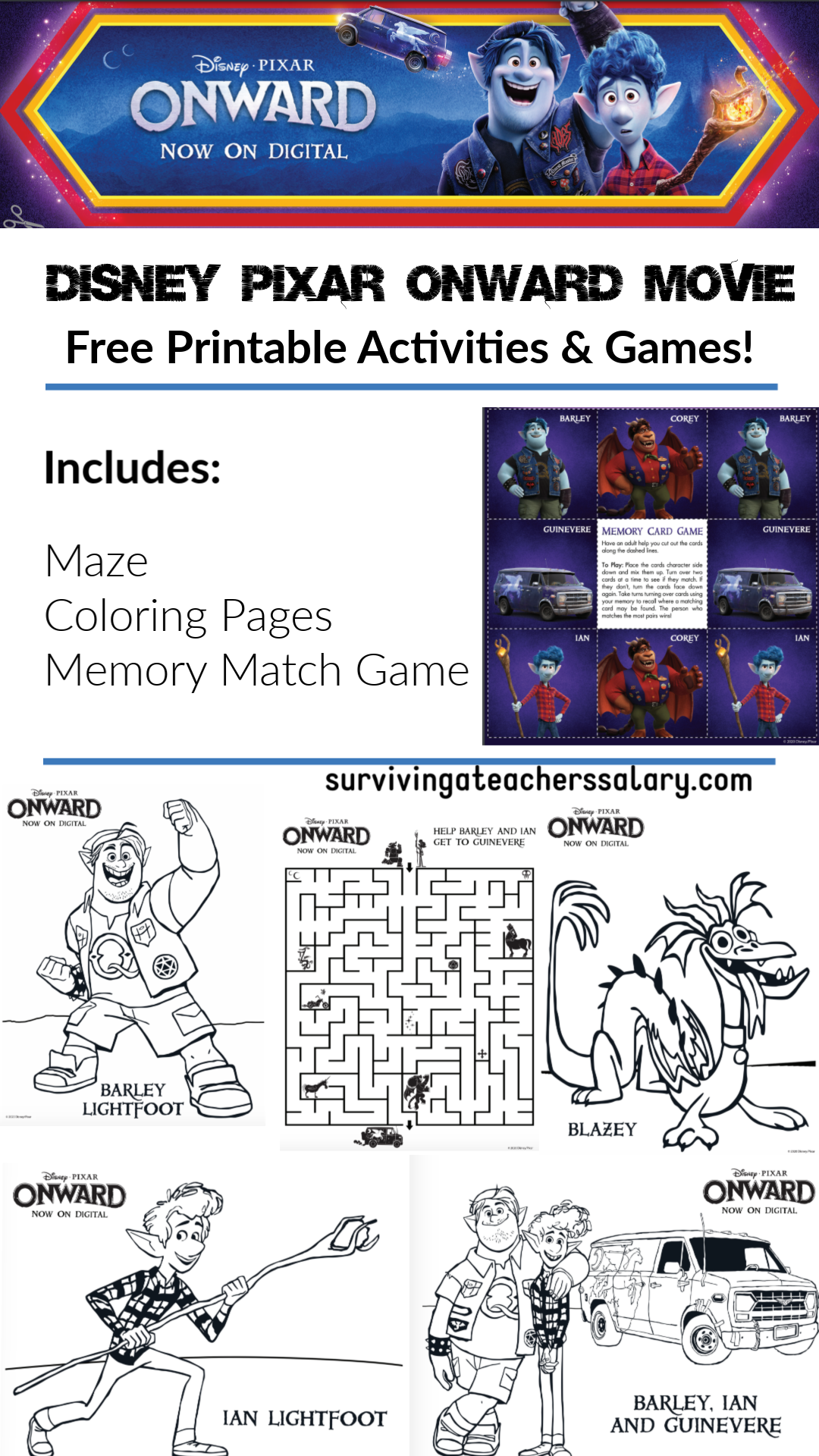 Disney Pixar Onward Movie Printables Amp Games