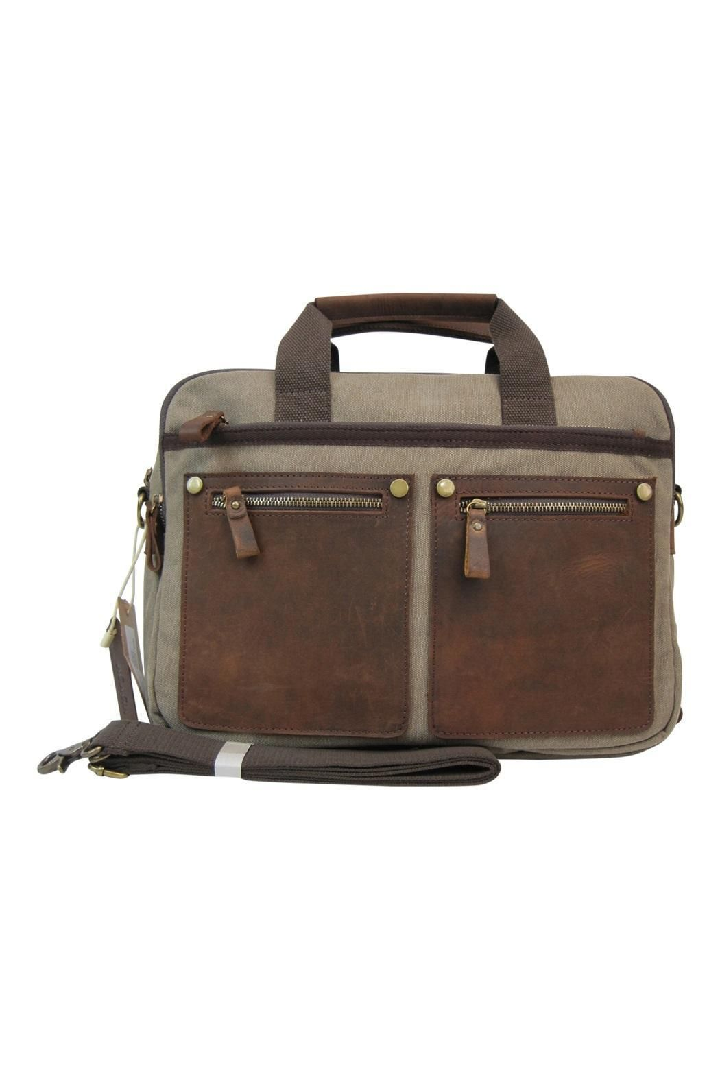 b3b2bbda3df5 Stylish brief case look canvas bag. Compartment specially built-in ready  for tablet or