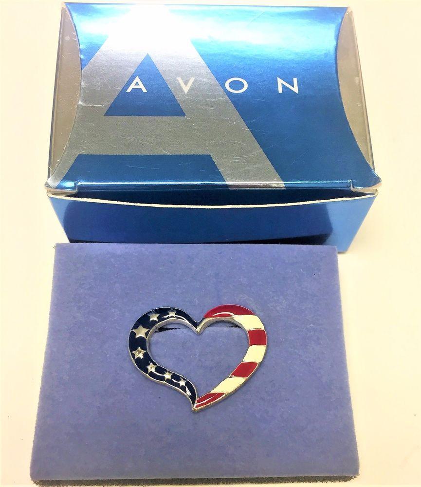 New Vintage Avon American Pride Pin American Heart Pin 2004 Avon