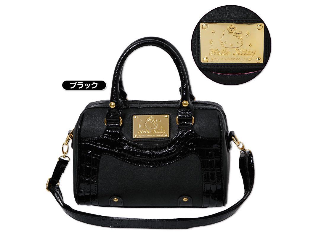 07b2c38853a0 Hello Kitty 2 Way Handbag Shoulder Bag Mini Overnight Boston Bag Black SANRIO  JAPAN
