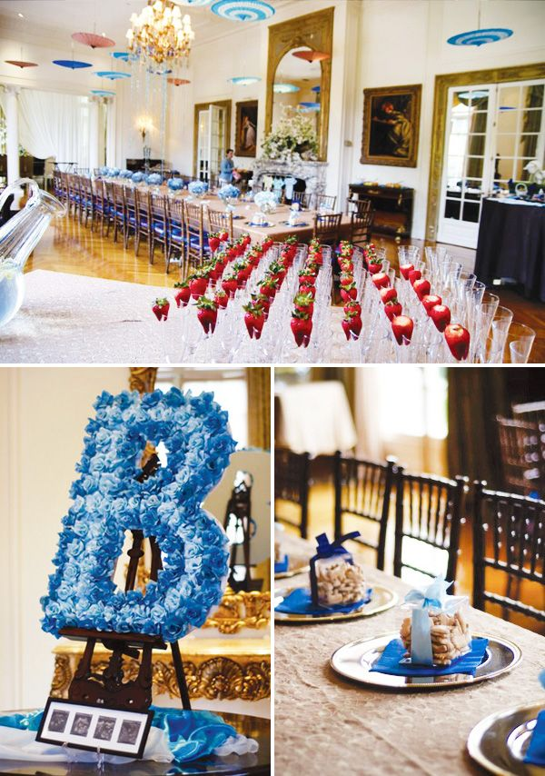 elegant blue boy baby shower ideas