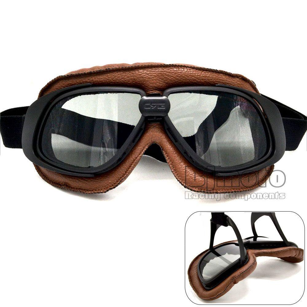 Trouver plus Lunettes Informations sur Casque lunettes avec objectif  fumeurs moto lunettes Vintage Pilot Biker en cuir pour moto vélo vtt Goggle  5 couleur ...