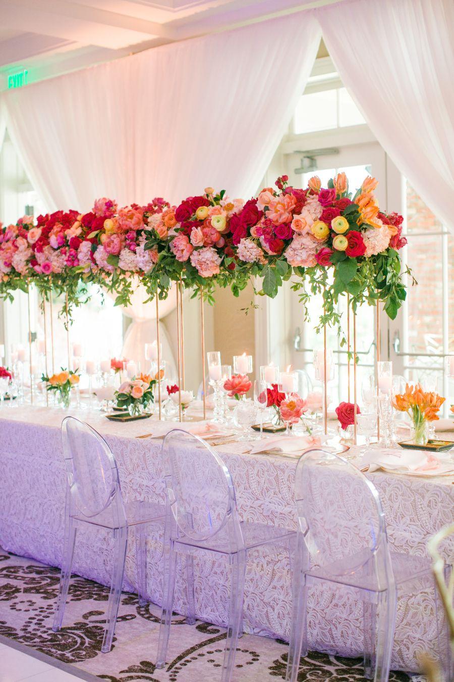 Bringing Bright Happy Hues To A Modern Ballroom Affair Wedding Floral Centerpieces Wedding Centerpieces Pink Wedding Centerpieces