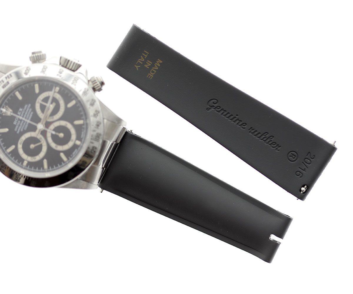 Just Black Natural Rubber Band for Rolex Daytona Watches 20mm by Visconti Milano  #rolexdaytona