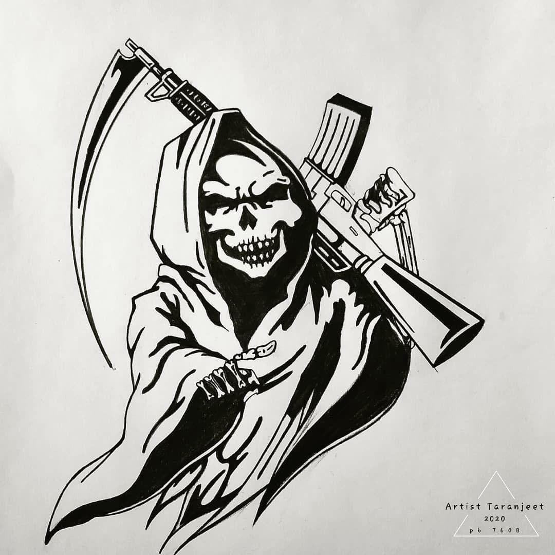 Taranjeetsingh In 2020 Reaper Tattoo Grim Reaper Tattoo Grim Reaper Drawing