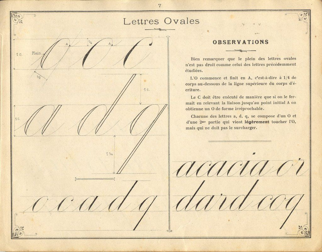 French Instruction Manual Page 7 Cursive Letters With Ovals