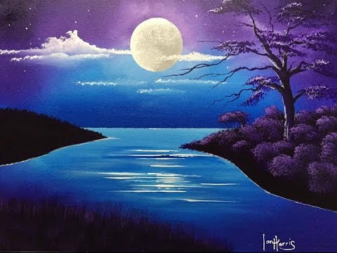 42 Acrylic Moon Over Lake Youtube Landscape Paintings Acrylic Landscape Drawings Landscape Paintings