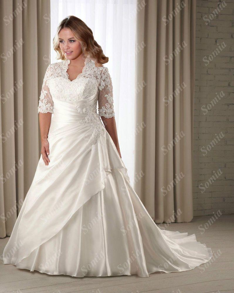 Plus Size Wedding Dresses Taffeta Lace Bridal Gown Custom 18 20 22 24 26 28