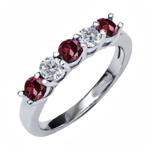 1.00 Ct Round Red Rhodolite Garnet G/H Diamond 925 Sterling Silver Ring, Women's, Size: 6