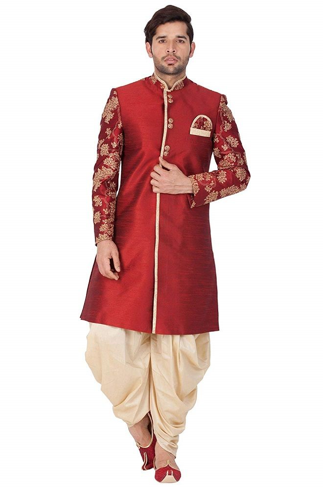 c3c996be92 Silk Blend Sherwani Set For Men (Maroon_VASMSW010nCDGO) – Vastramay ...