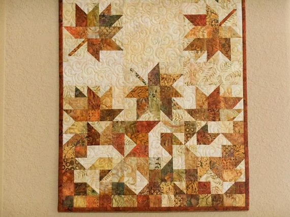 Autumn Leaves Quilted Wall Hanging, Fall Home Decor, Rust Brown Gold ...