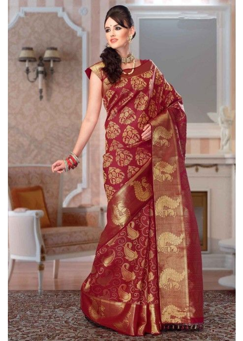 Maroon Colour Kanchipuram Silk Saree With Zari Work Sr2599 With