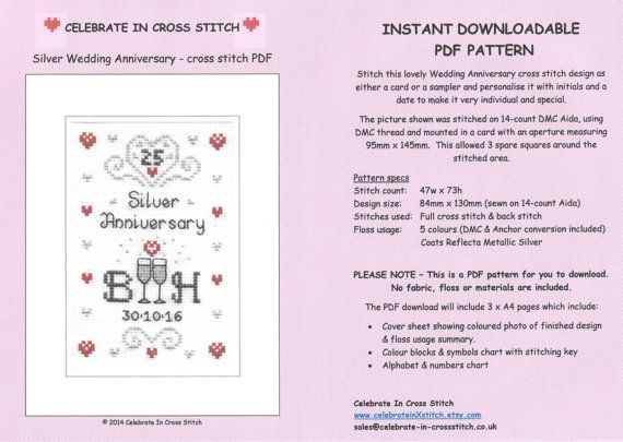 Pdf silver wedding anniversary cross stitch by celebrateinxstitch also chart download rh pinterest