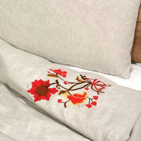 Bestickte Leinen Bettwäsche, 18JH. Stickerei Ornament, Jetzt kaufen auf www.comfybedlinen.com