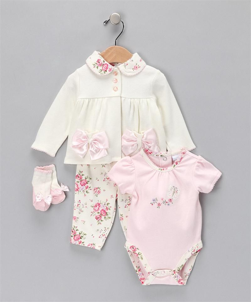 f45b0c386369 Vitamins Baby 3-Piece Creeper Pant Set Antique Rose