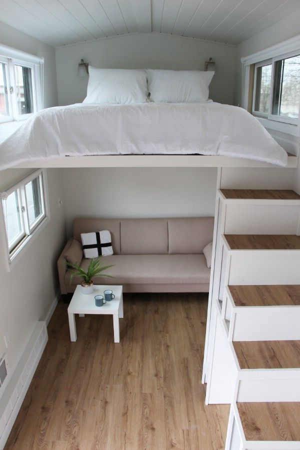 Step Inside The Hoosic Split Level And Take A Step Up In Tiny Living Small Room Design Small Bedroom Tiny House Interior Design