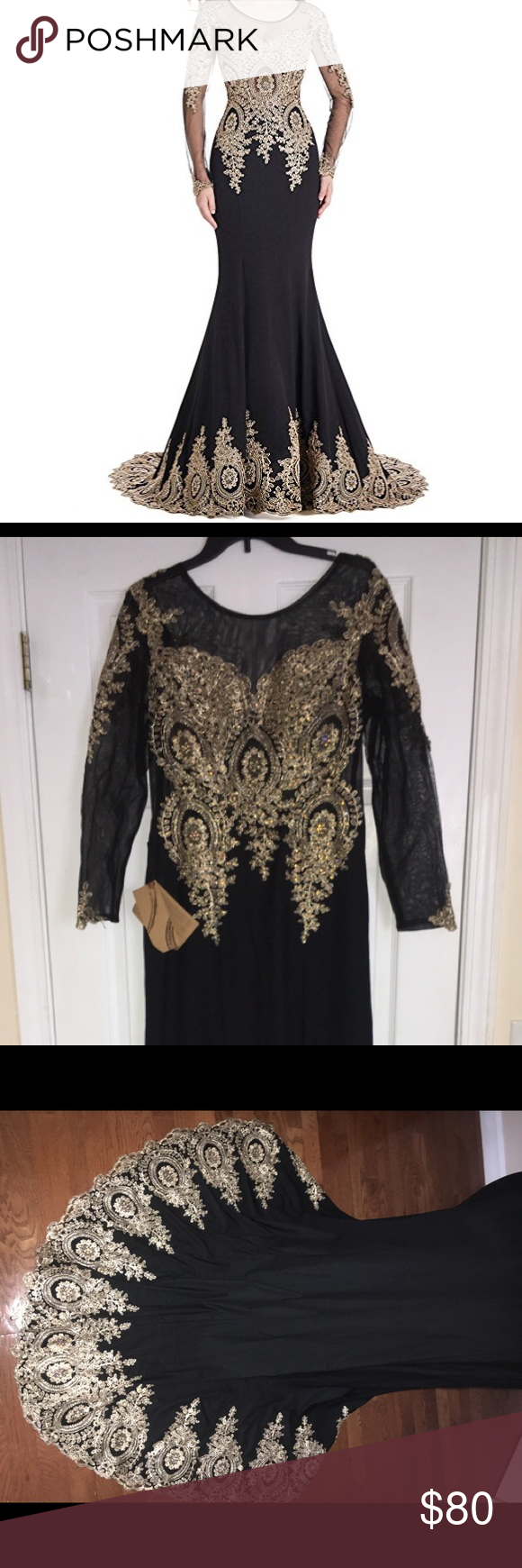 Black and gold long sleeved mermaid evening gown mermaid evening