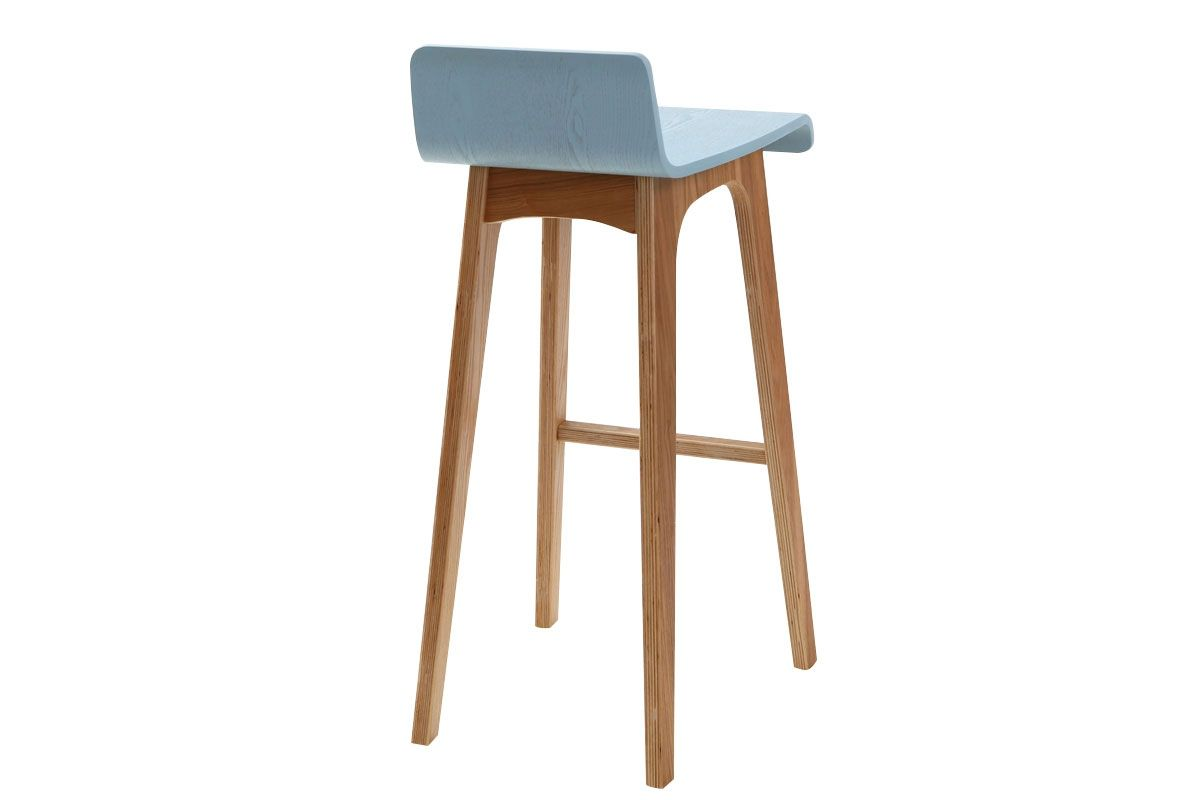 Tabouret chaise de bar design bois teint bleu scandinave baltik zoom cuisine pinterest for Chaise de bar ajustable
