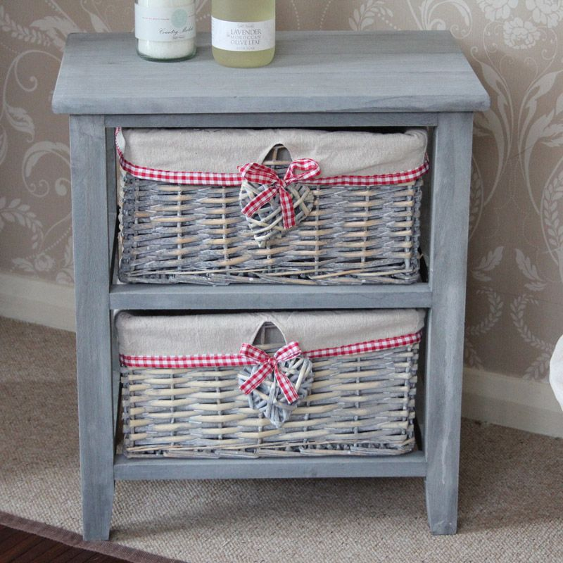 Amour Range Grey Wooden 2 Drawer Wicker Storage Unit