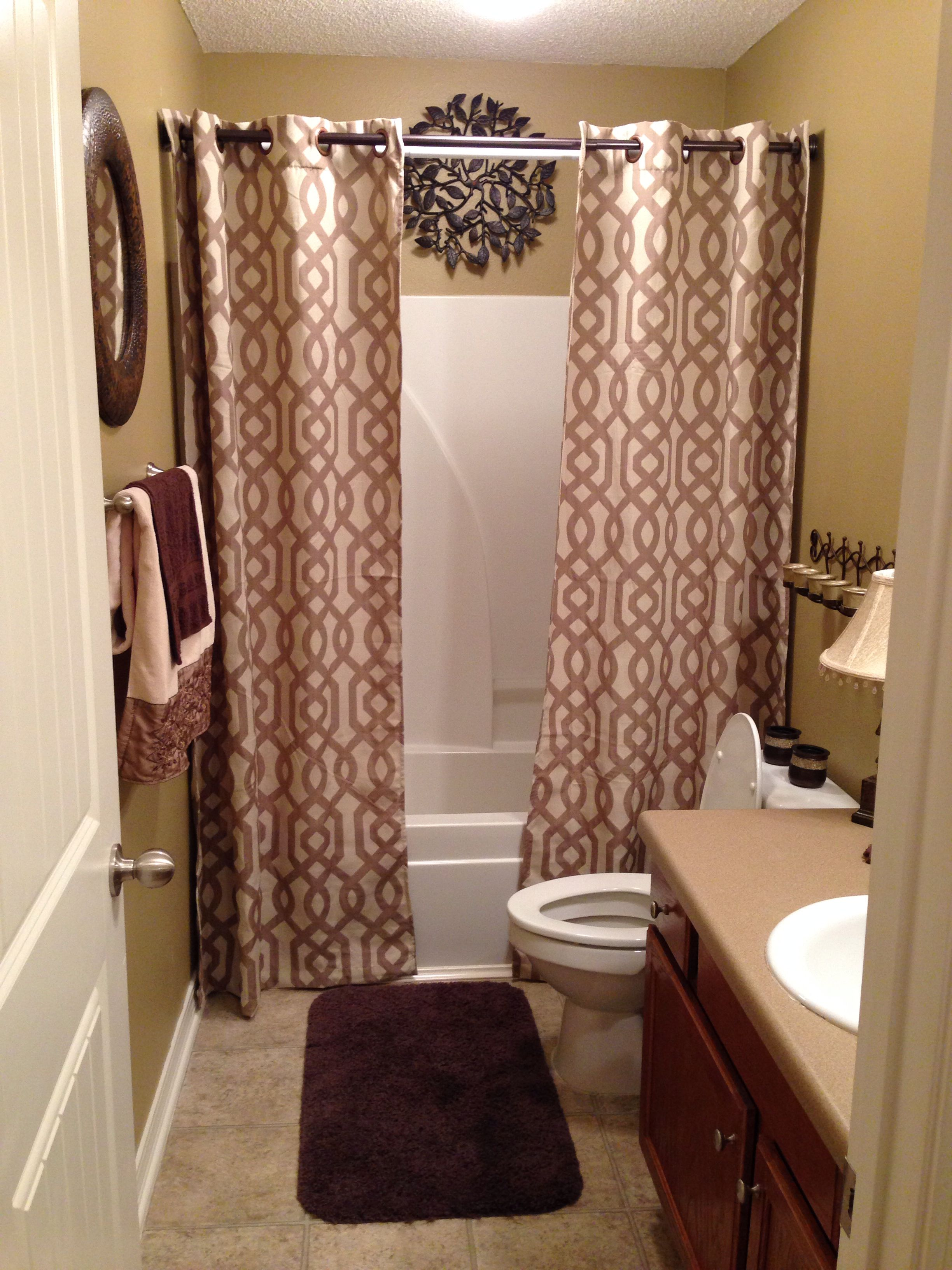 Guest Bathroom Brown And Gold Tones Gold Bathroom Decor Brown Bathroom Decor Simple Bathroom Decor