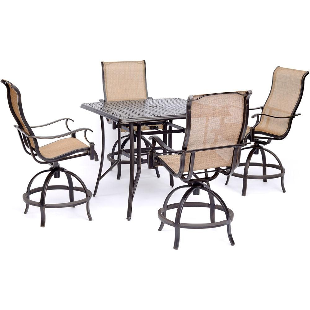 Patio Furniture Sets With Swivel Chairs.Hanover Manor 5 Piece High Dining Set With 4 Sling Swivel Chairs And