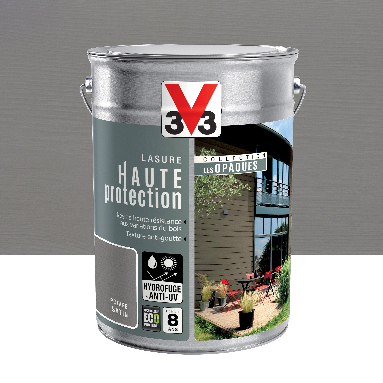 Lasure V33 Hp Opaque 8 Ans Poivre Satine 5 L Lasure Reglisse Noix De Macadamia