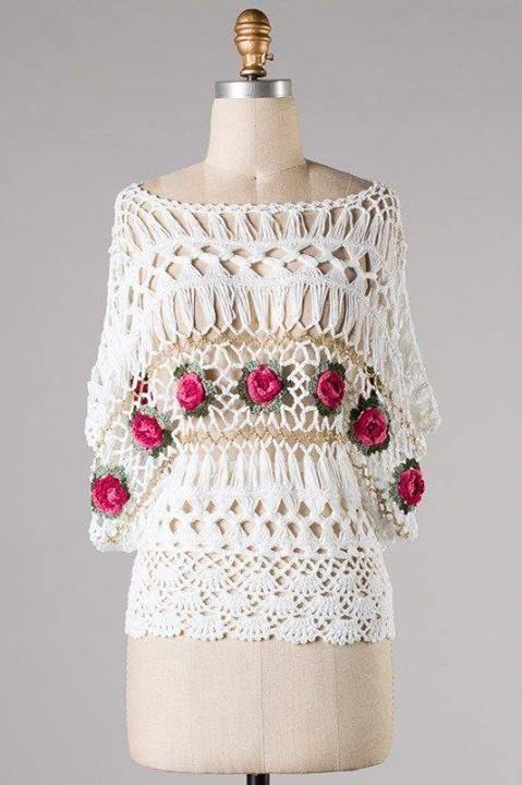 combinada con flores | blusas | Pinterest | Flores, Horca y Tejido