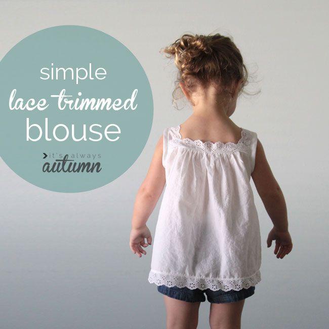 super sweet girl\'s white lace blouse tutorial | süße Blusen, Blusen ...