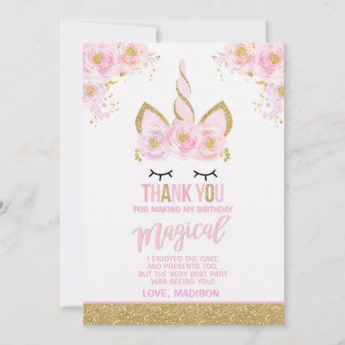 magical unicorn thank you card unicorn party  zazzle