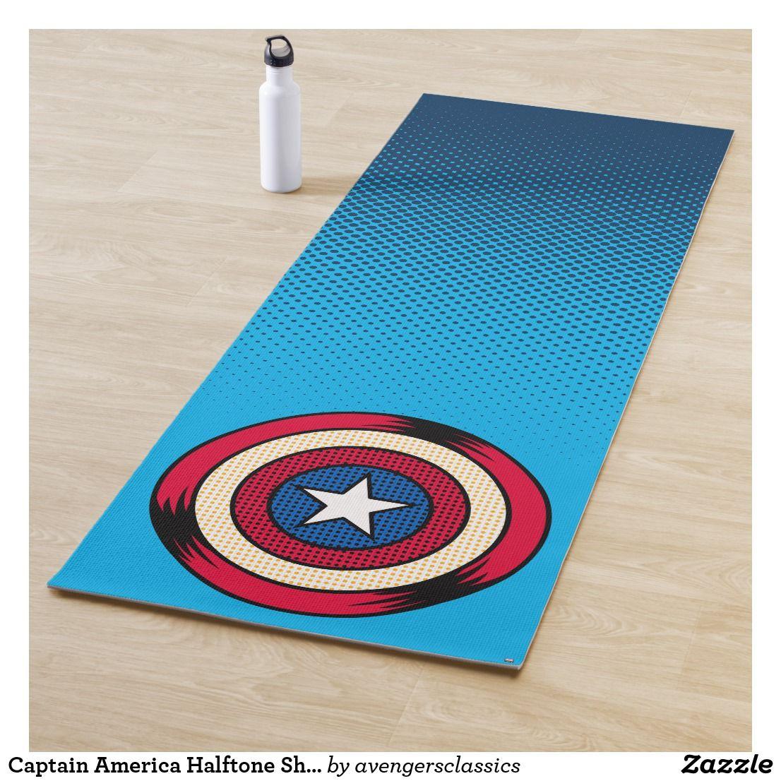 Captain America Halftone Shield Yoga Mat Zazzle Com Beautiful Yoga Mats Custom Yoga Mat Yoga Mat
