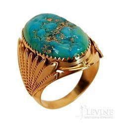 How to Clean turquoise Jewelry Mens 14K Gold Turquoise Nugget Ring