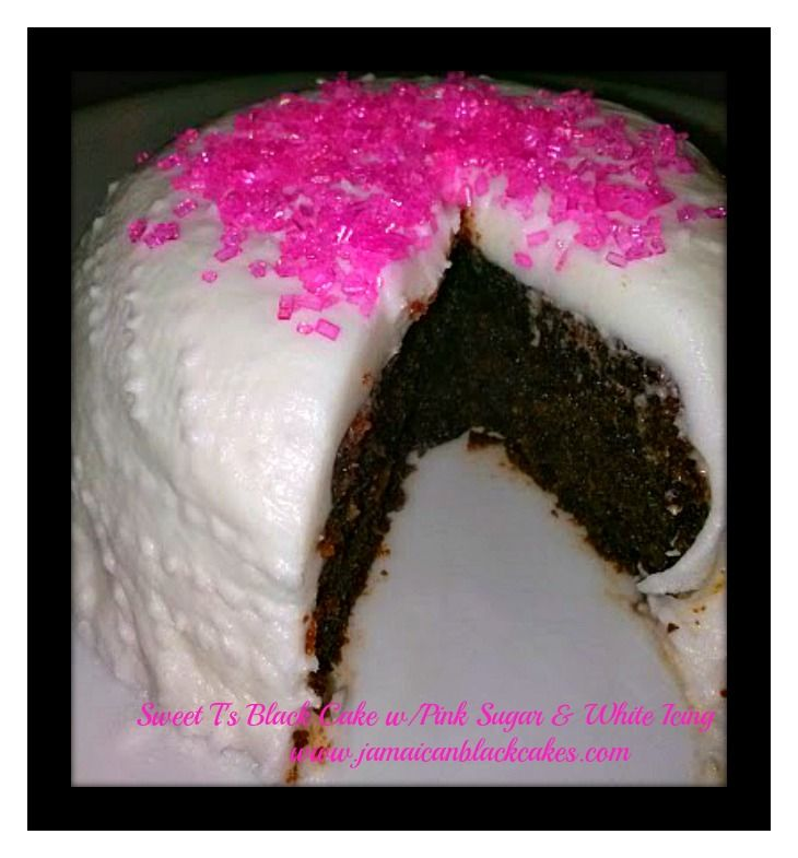 Black Cake Jamaican Rum With Pink Sugar And White Icing