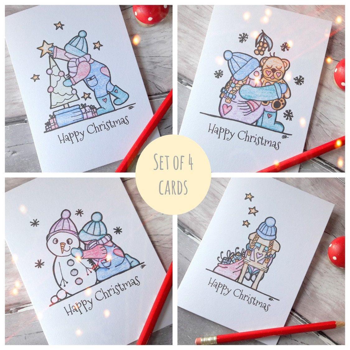 Christmas card pack, Xmas greetings set, holiday card set, Christmas ...