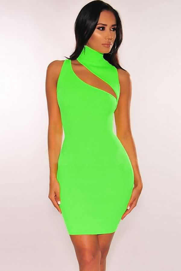 a4946e5c4acf5 Women Neon Green Ribbed Cutout High Neck Sleeveless Sexy Bodycon Dress -  Light Green, S