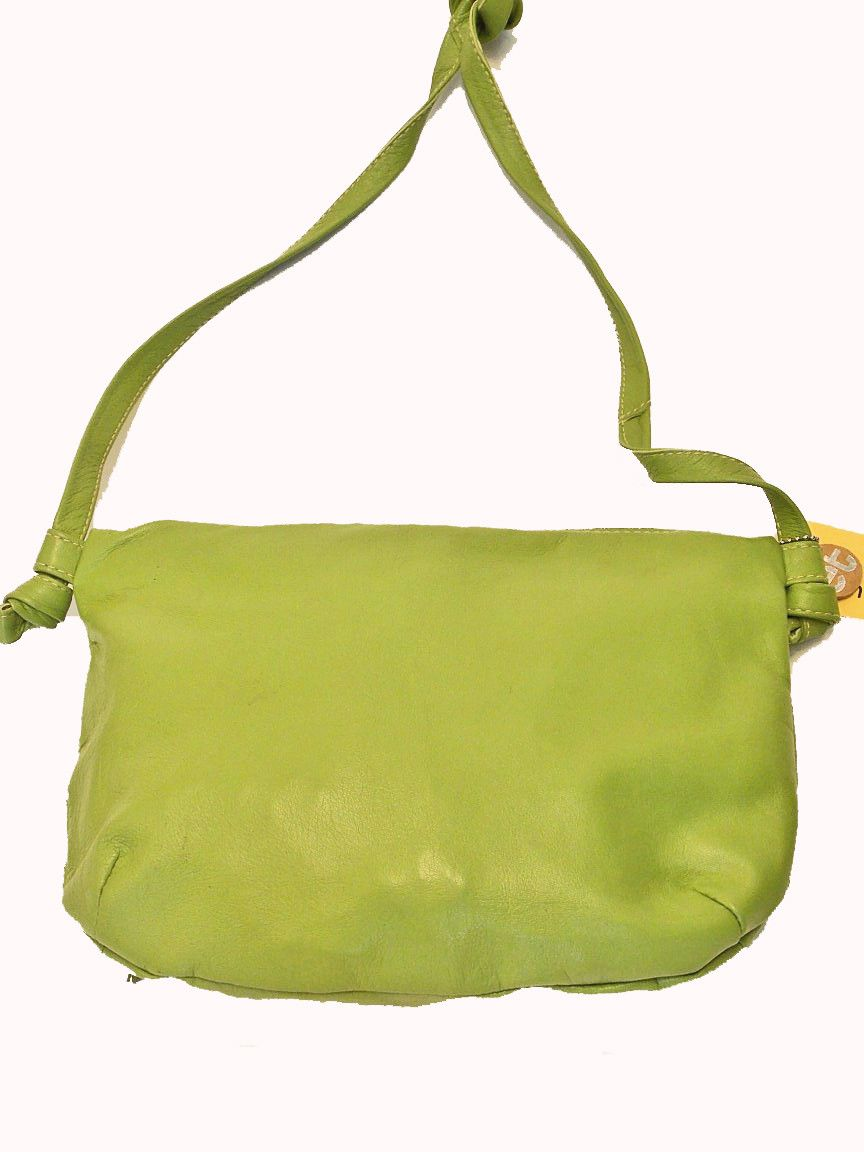 Lime Green TGIF. Made from recycled leather.