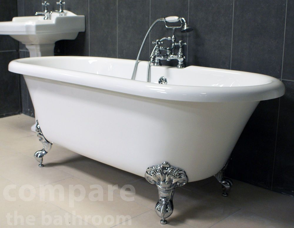 Traditional Roll Top Bath: Traditional Freestanding Bath Ball & Claw Feet Roll Top