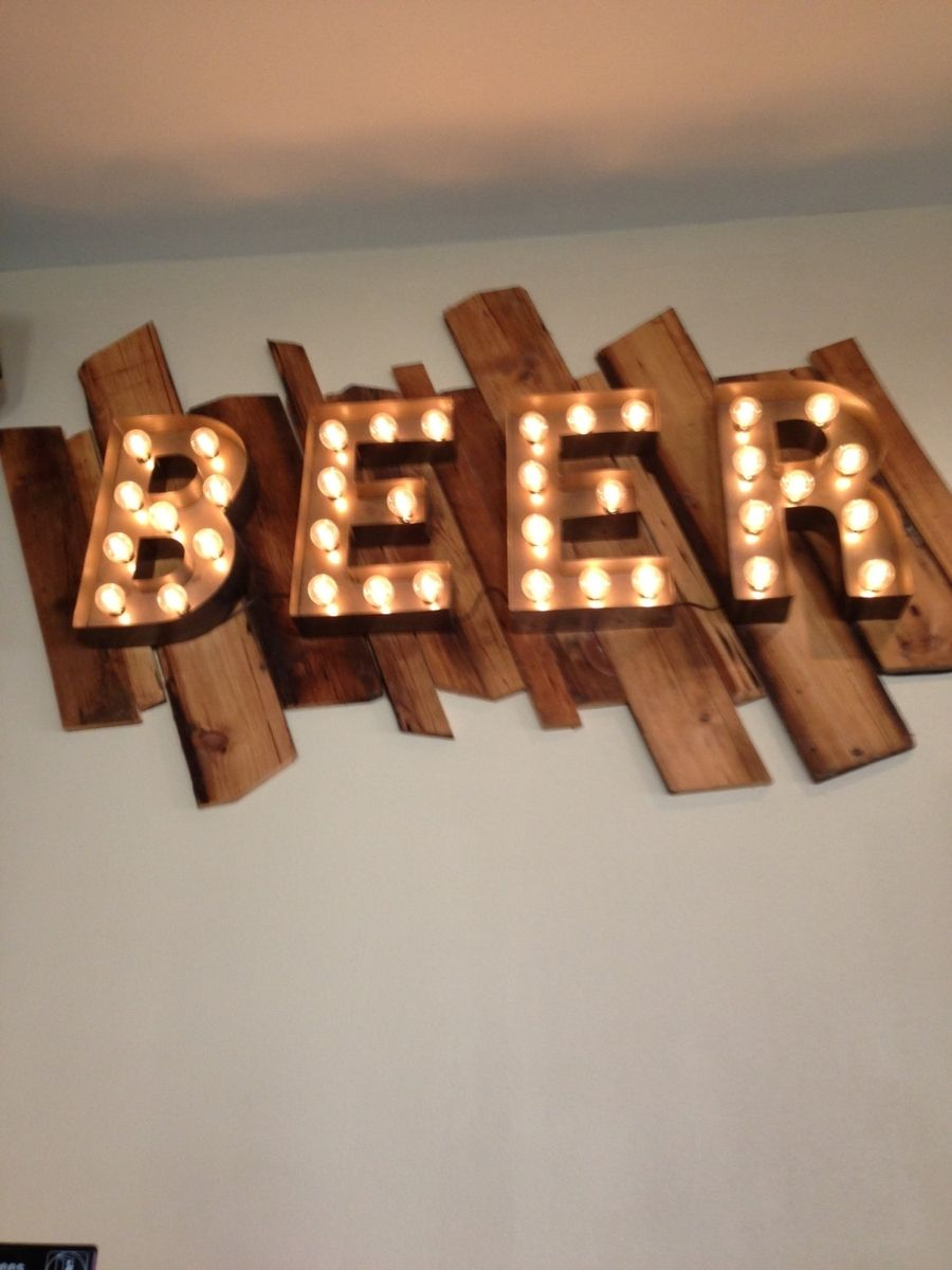 Beer Sign Vintage Style Metal Letters Light Fixture 18 Inch Tall Marquee Signage