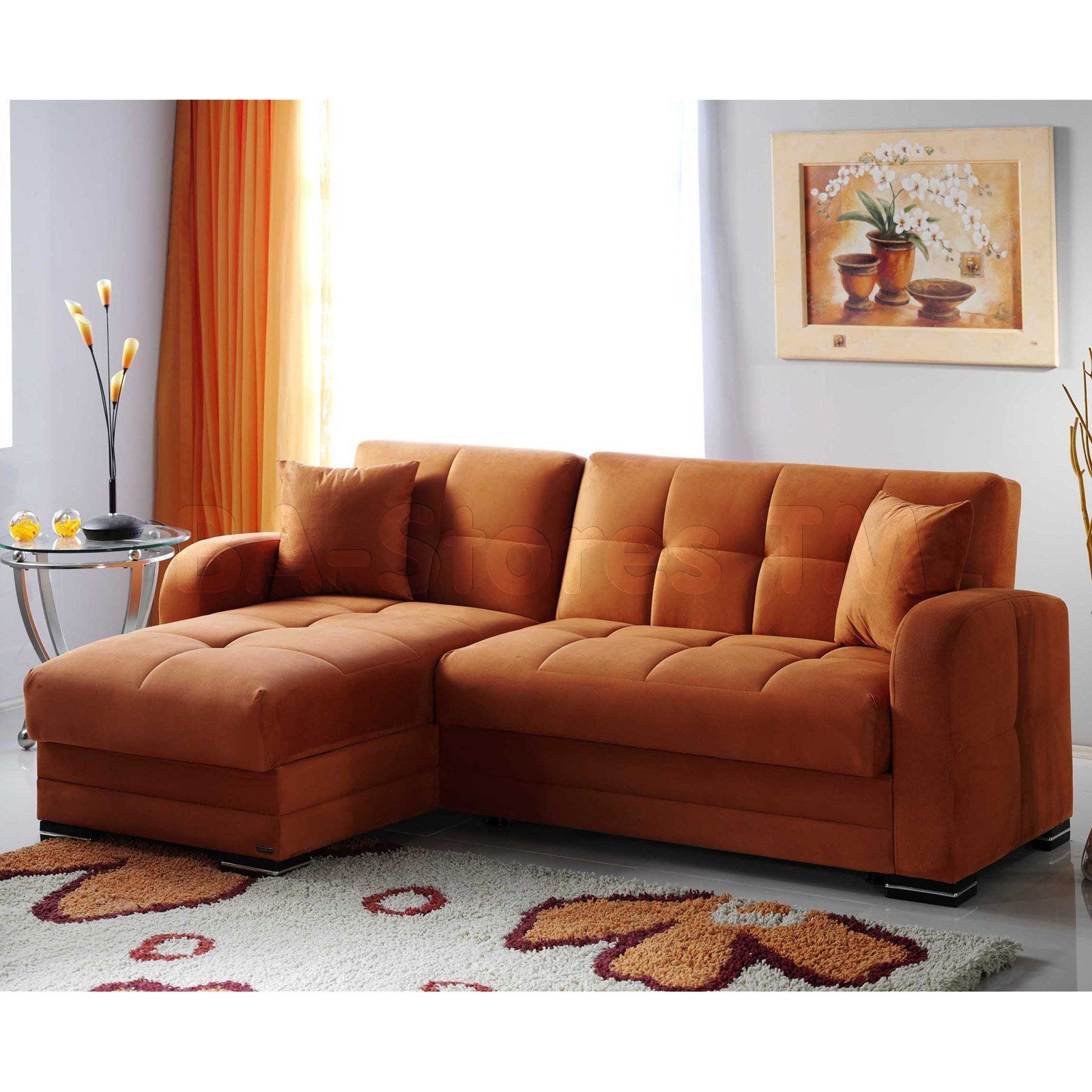 Dat Orange Velvet Microfiber Sectional Sofa Sectional Sofa