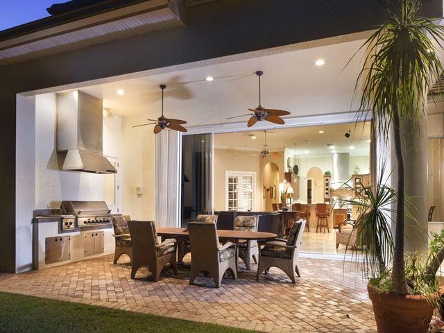 Tropical Lanai Outdoor Dining Living Area Summer Kitchen Olde Naples Florida Outdoor Living Space Outdoor Living Outdoor Living Room