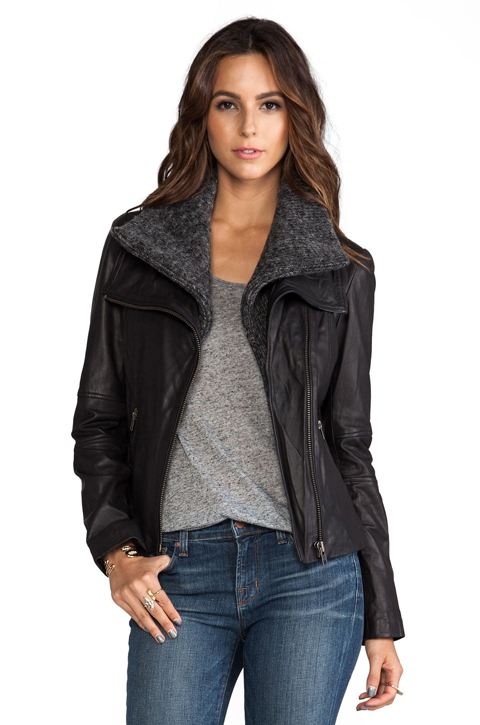 Soia & Kyo Donia Leather Jacket in Black from