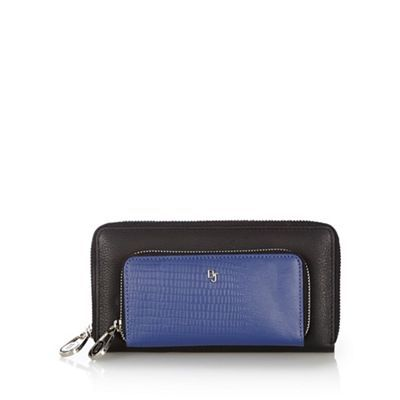 Betty Jackson Black Designer Blue Leather Zip Front Purse Debenhams