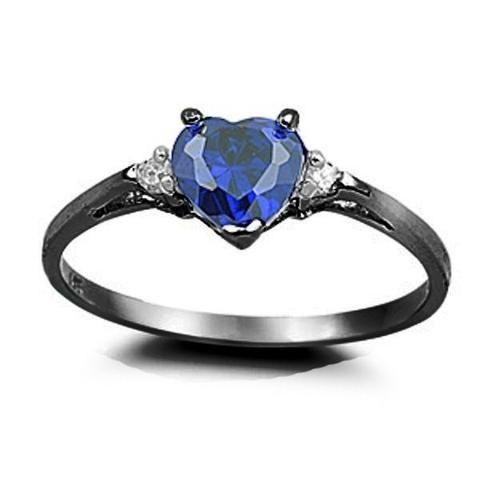 0 50CT Deep Heart Blue Sapphire Diamond CZ Black Gold Heart Ring