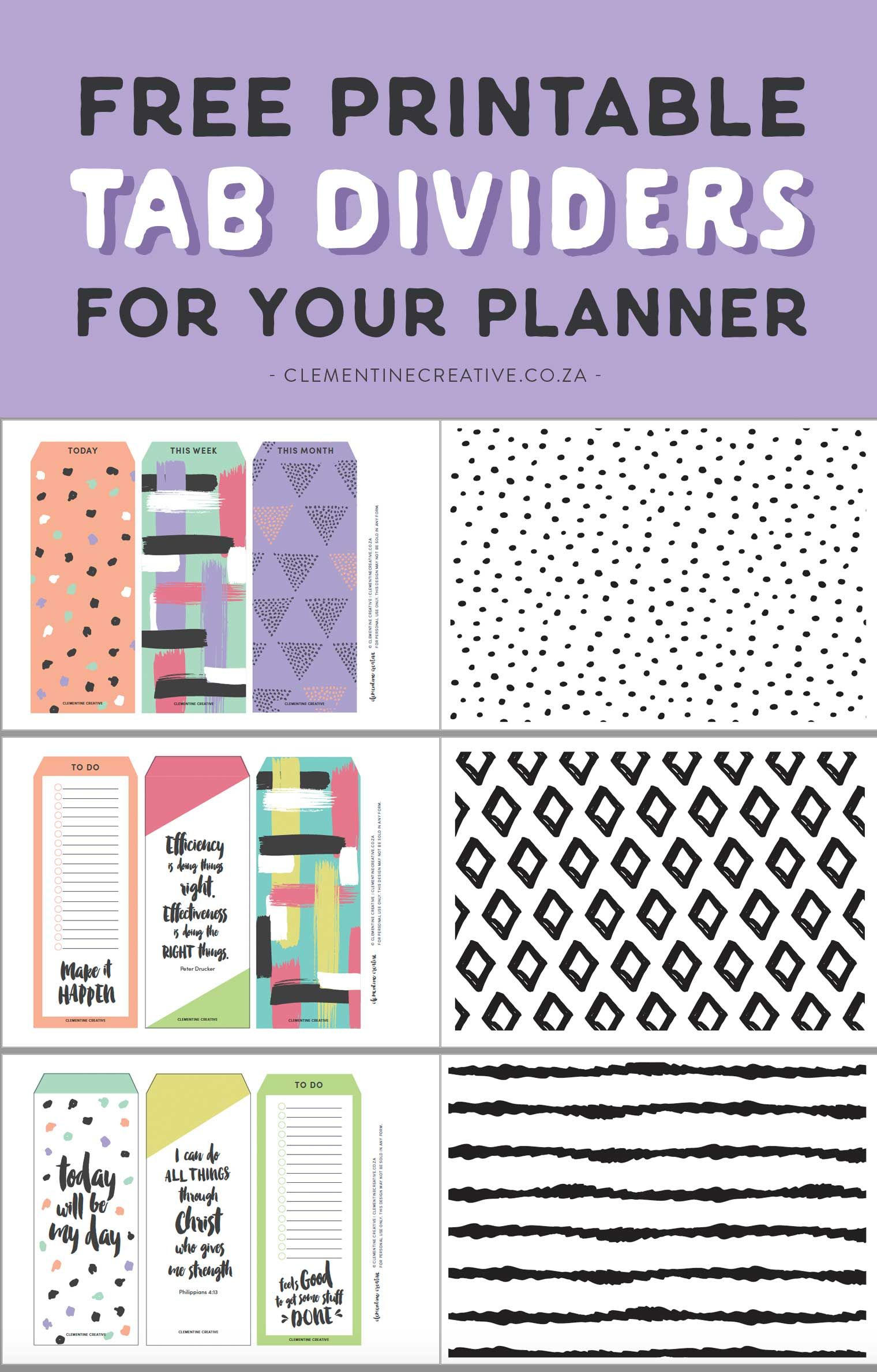 Free Printable Top Tab Dividers for Planners, Diaries and Agendas #teacherplannerfree