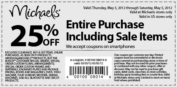 Exclusive Michaels Friends Family Discount 25 Off In Store Coupon Valid May 3 5 Follow Link To Print Coupo Printable Coupons Print Coupons Michael Store