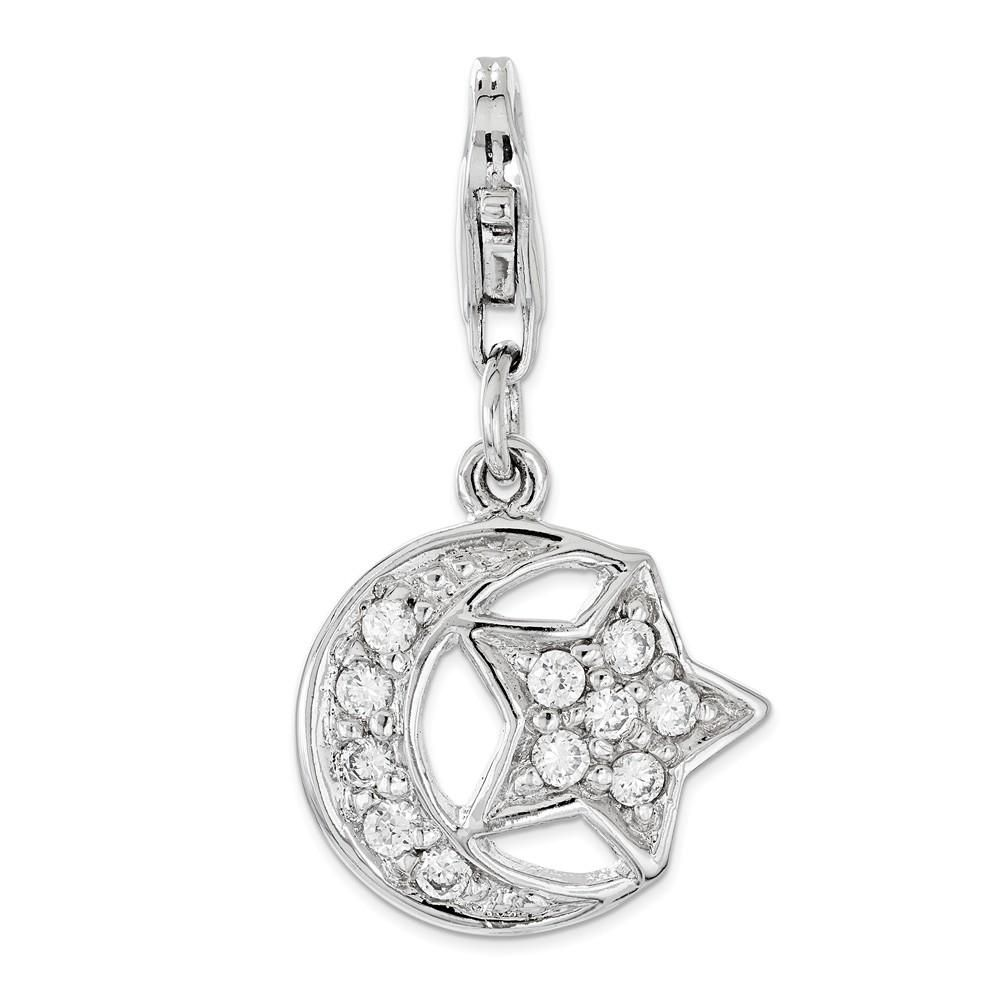 Sterling Silver Jewelry Pendants /& Charms Polished CZ Star Pendant