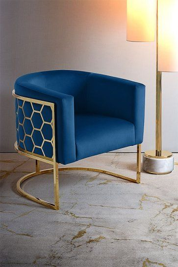 Luxury Showcase For Living Room Royal Art Deco: Alveare Tub Chair Brass – Royal Blue In 2020