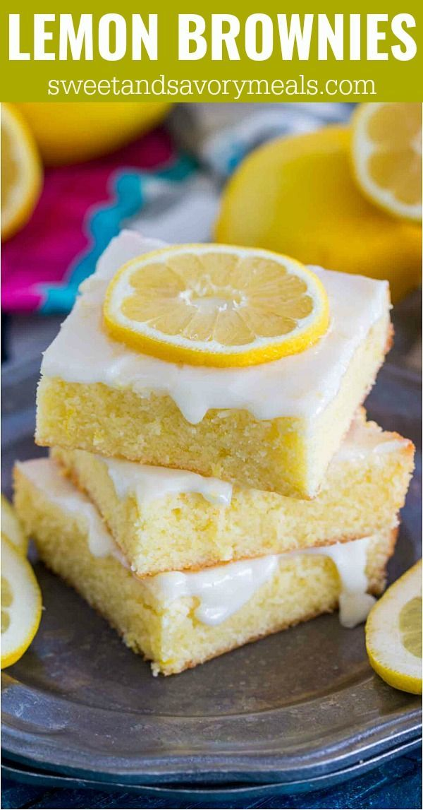 One Bowl Lemon Brownies -   12 lemon desserts Easy ideas