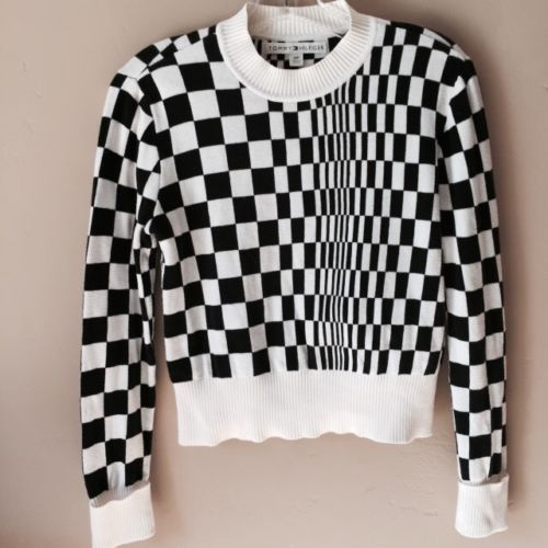 Tommy Hilfiger Black White Checkered Pullover Sweater Size Small