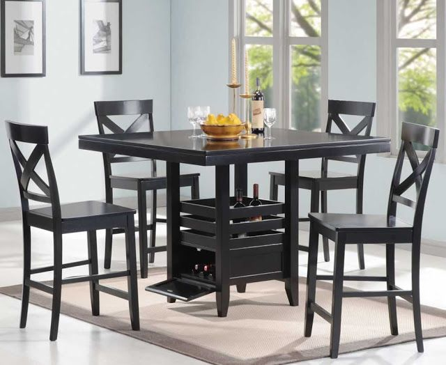 Black Dining Table Set With Bench Black Dining Table Set With Entrancing Tall Dining Room Sets Design Ideas